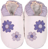 shoeszoo purple flowers white 0-6m S soft sole leather baby shoes