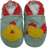 carozoo rooster hen green 0-6m soft sole leather infant baby shoes