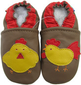carozoo rooster hen brown 0-6m soft sole leather infant baby shoes