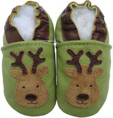 carozoo reindeer green 0-6m new soft sole  leather infant baby shoes