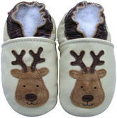 carozoo reindeer cream 0-6m new soft  leather baby shoes
