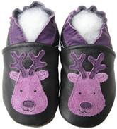 carozoo reindeer black 0-6m new soft sole leather baby shoes