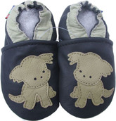 carozoo puppy navy blue 0-6m soft sole leather infant baby shoes