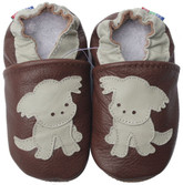carozoo puppy dark brown 0-6m soft sole leather baby shoes