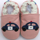 carozoo police car pink 12-18m soft sole leather baby shoes