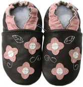 carozoo pink flower leaf brown 0-6m new soft sole leather baby shoes