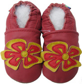 carozoo periwinkle red 0-6m new soft sole leather baby shoes
