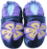 carozoo periwinkle flower dark green 12-18m new soft sole leather baby shoes