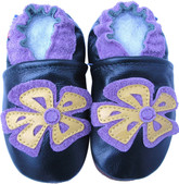 carozoo periwinkle flower dark green 0-6m new soft sole leather baby shoes