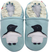carozoo penguin light blue 0-6m  soft sole leather baby shoes