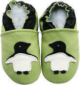 carozoo penguin green 18-24m soft leather baby shoes