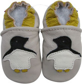 carozoo penguin cream 0-6m soft sole leather baby shoes