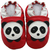 carozoo panda red 0-6m soft sole leather baby shoes