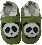 carozoo panda green 0-6m soft sole leather baby infant shoes