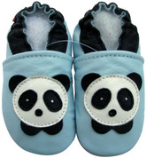 carozoo panda baby blue 0-6m soft sole leather baby shoes