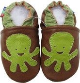 carozoo octopus brown C2 0-6m soft sole leather baby shoes