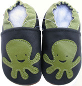 carozoo octopus black 0-6m soft sole leather baby shoes