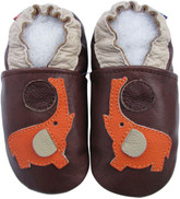 carozoo elephant brown 0-6 new soft sole leather baby shoes