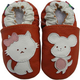 carozoo mouse cat orange 0-6m soft sole leather baby shoes
