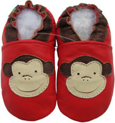 carozoo monkey red 12-18m new soft sole leather baby shoes