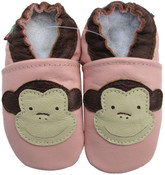 carozoo monkey pink 0-6m new soft sole leather baby shoes