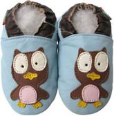 shoeszoo owl light blue 0-6m S soft sole leather baby shoes