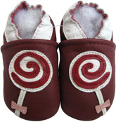 carozoo lollipop dark red 0-6m soft sole leather baby shoes