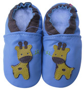 carozoo little giraffe light blue 0-6m soft sole leather baby shoes