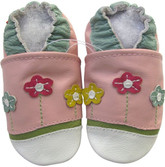 carozoo little flower pink 0-6m soft sole leather baby shoes