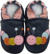 carozoo caterpillar dark blue outdoor 6-12m soft rubber sole leather baby shoes