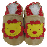 carozoo lion tan 0-6m soft sole leather baby shoes