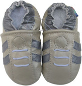 carozoo sports silver grey 0-6m soft sole leather baby shoes