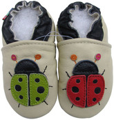 carozoo ladybug cream 6-12m soft sole leather baby shoes slippers