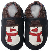 carozoo snowman black 0-6m soft sole leather baby shoes slippers