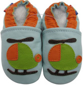carozoo helicopter light blue 0-6m soft sole leather baby shoes