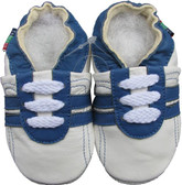 shoeszoo sports blue white 0-6m S1 soft sole leather baby shoes