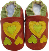 carozoo heart red 0-6m new soft sole leather baby shoes
