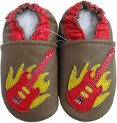 Carozoo guitar brown 0-6m soft sole leather baby infant shoes