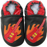 Carozoo guitar black 0-6m soft sole leather baby infant shoes