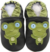 carozoo frog black 0-6m soft sole leather baby shoes