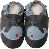 shoeszoo whale dark blue 0-6m S new soft sole leather baby shoes
