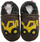 carozoo forklift brown 0-6m soft sole leather baby shoes