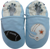 carozoo football light blue 0-6m soft sole leather baby shoes