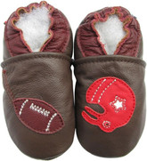 carozoo football brown 0-6m soft sole leather baby shoes