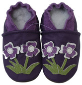 carozoo flower violet 0-6m soft sole leather baby shoes