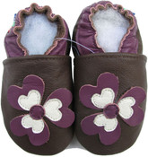 carozoo flower purple brown 0-6m soft sole leather baby shoes