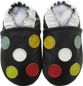 carozoo five dot black 0-6m new soft sole leather baby shoes