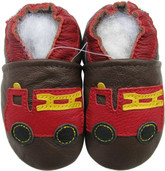 carozoo fire truck brown 0-6m soft sole leather baby shoes