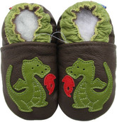 carozoo fire dragon brown 0-6m soft sole leather infant baby shoes