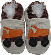 carozoo dump truck cream 0-6m soft sole leather baby shoes